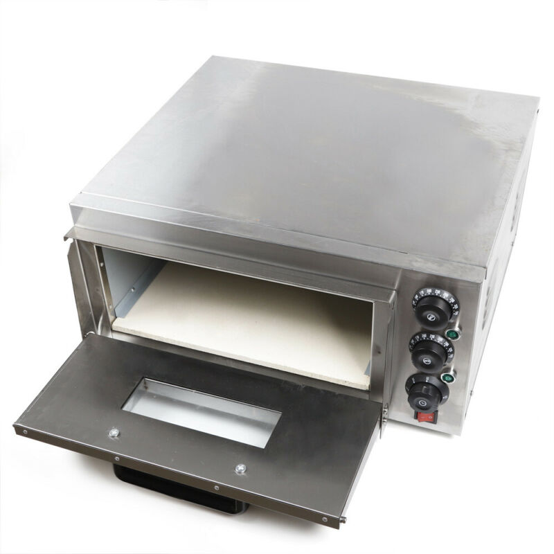 110v Electric Pizza Oven Single Deck Stainless Steel Ceramic Stone 2000W Used US