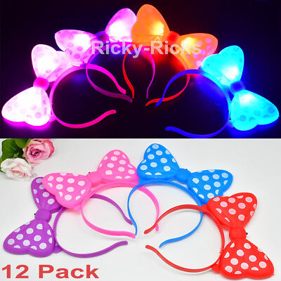 12 Jumbo Bows LED Headbands Minnie Mouse Light Up Party Rave Flashing Favors ](Minnie Mouse Bow Light Up)