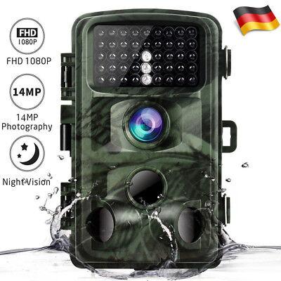 Wildkamera Jagdkamera 14MP 1080P HD 20M/65FT Wasserdicht Fotofalle IR Nachtsicht