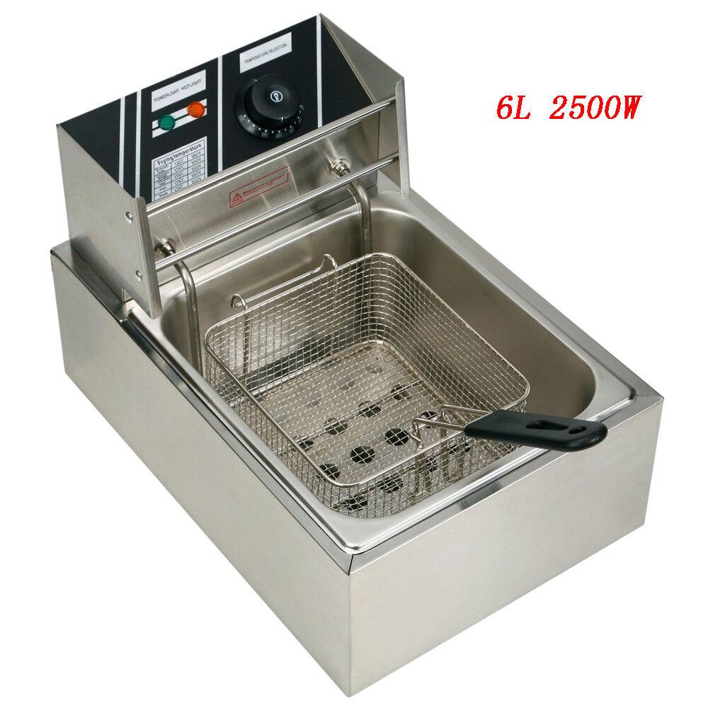 6L Stainless Steel Electric Deep Fryer with Basket for Comme