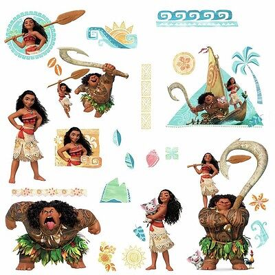 DISNEY MOANA & MAUI Wall Decals 28 Peel & Stick Stickers Mural Girls Room Decor