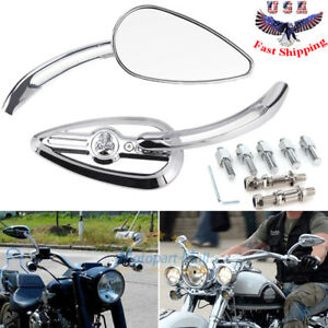 Automobiles & Motorcycles Chrome Custom Rearview Rear View Mirrors Blue For Harley Motorcycle Cruiser Chopper Dyna Electra Glide