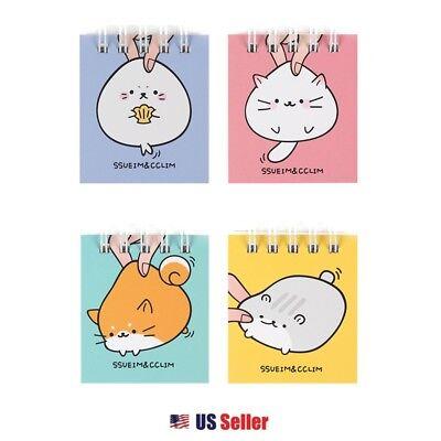 Ssueim Cclim Mochi Animal Lined Mini School Notebook Note Memo Pad Set Of 4