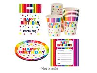 NEW Birthday Party Set 15 Bright Rainbow Paper Cups Plates Loot Bags Invitations Happy Birthday