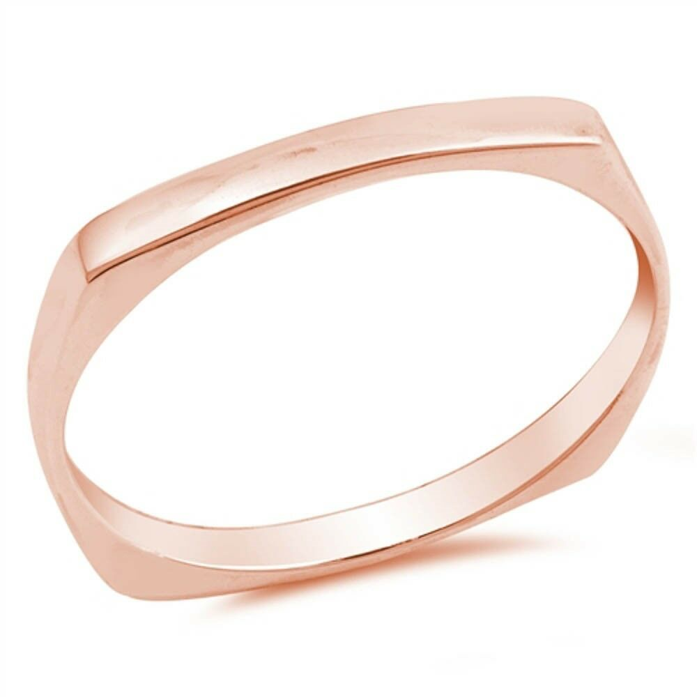 Rose Gold Plated Bar Band .925 Sterling Silver Ring Sizes 4-
