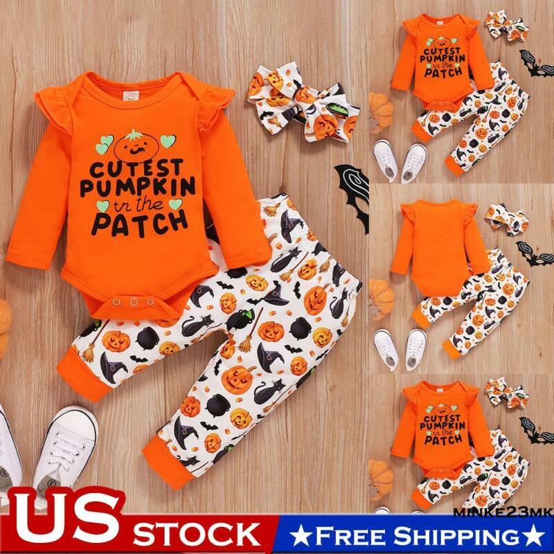Newborn Baby Girls Halloween Long Sleeve Romper+Pants+Headband Party Outfits Set