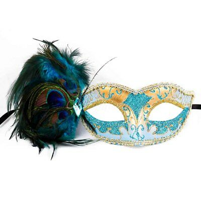 Mint Blue Teal & Gold Peacock Masquerade Mask with Feathers Venetian for - Masquerade Mask With Feathers