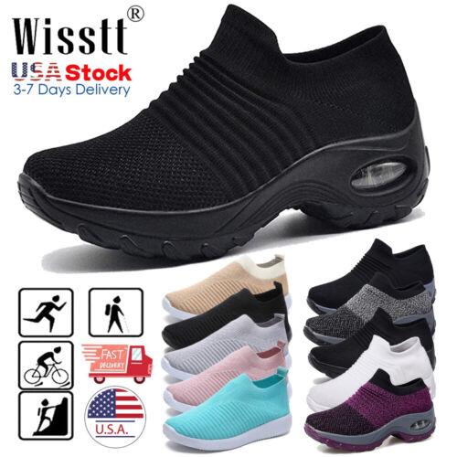 Women's Air Cushion Sneakers Breathable Mesh Slip-On Running