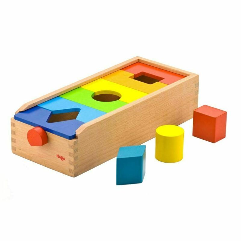 HABA Fit & Play Rainbow Shape Sorting Box with 6 Wooden Groove & Lock Tiles