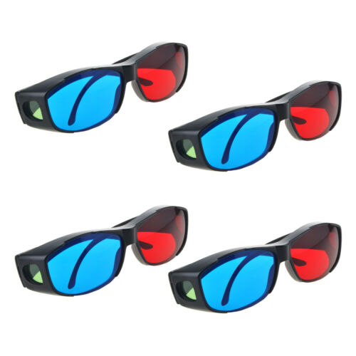 4 Pcs Red Blue 3D Glasses Frame For Dimensional Anaglyph Movie DVD Game