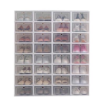 Stackable Storage Organizer - 12Pcs Foldable Shoe Box Storage Plastic Transparent Case Stackable Organizer