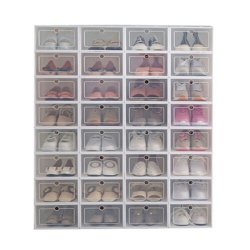 12Pcs Foldable Shoe Box Storage Plastic Transparent Case Sta