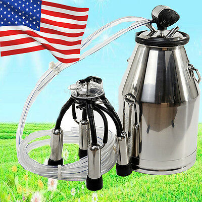 Uscows Milker Portable Milking Machine Barrel Stainless Bucket Large Capacity