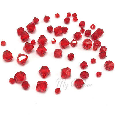 Siam Red Bicone Crystal Beads - 72 Mixed Sizes 3mm-6mm Swarovski 5328 XILION Bicone Crystal Beads red LIGHT SIAM