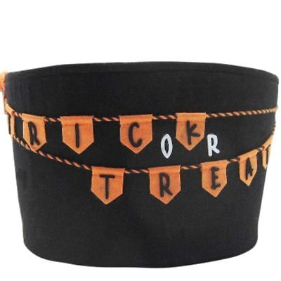 Trick or Treat Halloween Bonbon Candy Filz Korb Tasche Duchmesser 27cm