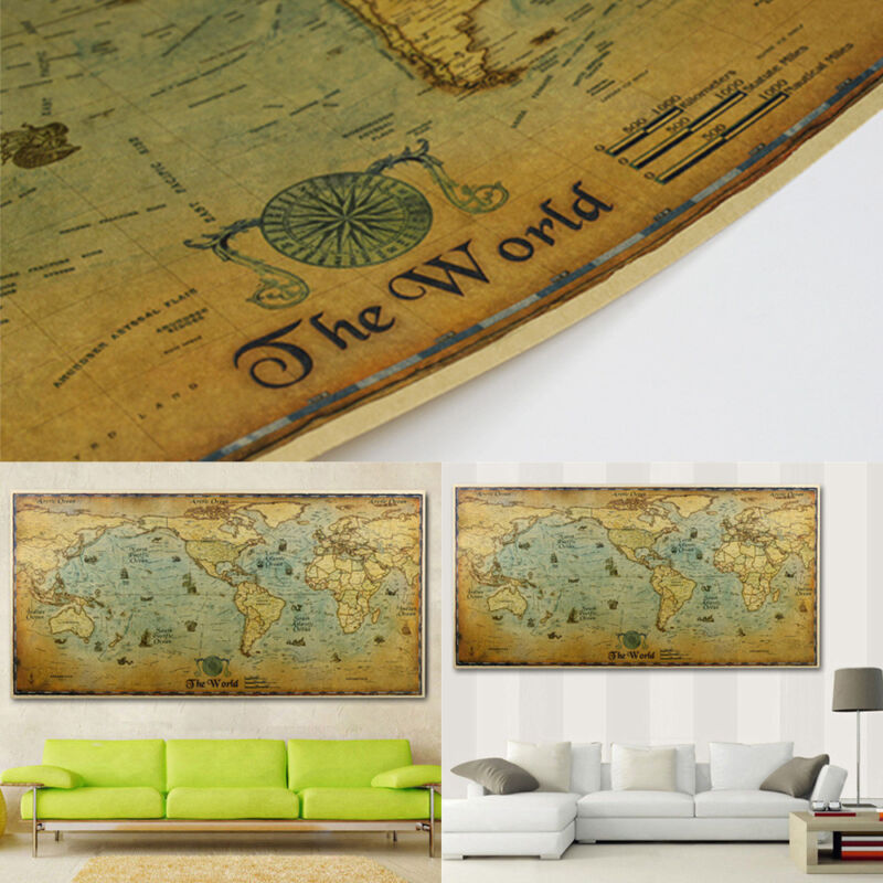 Retro World Map Kraft Paper Poster Sailing Picture Home Office Decor Supplies