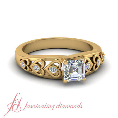 .60 Ct Wedding Rings For Her Diamond Asscher Cut & Round In 18K Yellow Gold GIA
