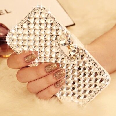 Crystal Bling Diamond Flip Leather Case Wallet Cover For Samsung S10 S8 S9 Plus