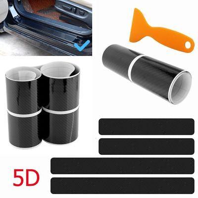 (Accessories Carbon Fiber Scuff Plate Door Sill 5D Sticker Panel Protector Cover)