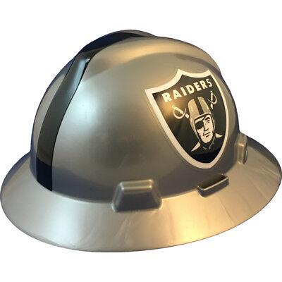 Msa V-gard Full Brim Oakland Raiders Nfl Hard Hat Type 3 Ratchet Suspension