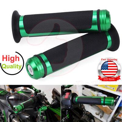 "7/8"" 22mm Motorcycle Custom Green Hand Grips Handlebar Cafe Racer Sport Chopper"