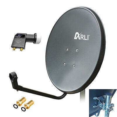 60 cm HD Sat Anlage Digital Twin LNB 4K 2 Teilnehmer Schüssel Antenne Spiegel 4K