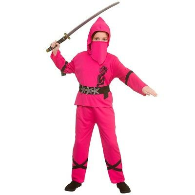 Child POWER NINJA Pink Girls Martial Arts Fancy Dress Costume Outfit Age 5-13 - Ninja Girl Outfits