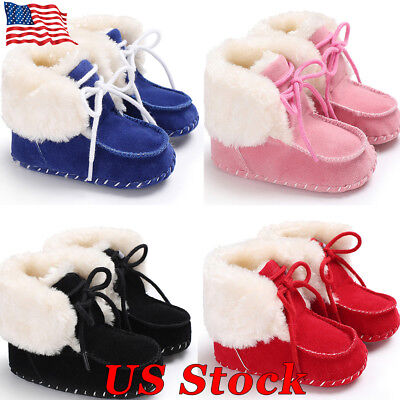 US Winter Toddler Infant Baby Boy Girl Soft Sole Crib Shoes Warm Snow Boots New