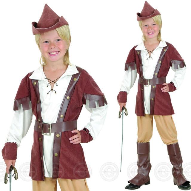 BOYS DELUXE ROBIN HOOD FANCY DRESS COSTUME MEDIEVAL HERO CHILDS KIDS ZZ 4 7 10