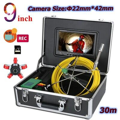 30m Sewer Pipe Pipeline Drain Inspection 9 Lcd Video Recording Camera 8gb Dvr