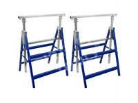 2 Heavy Duty Telescopic Trestle Builders Carpenter Work Bench Saw Horse Folding £15 o.n.o