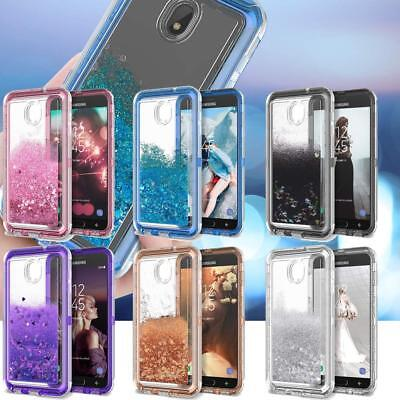 For Samsung Galaxy J3 Star/Achieve/Express Prime 3/2018 Liquid Glitter Hard Case
