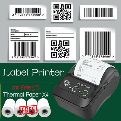Wireless Bt Thermal Receipt Printer Mobile Pos Label Printer Thermal Paper X4
