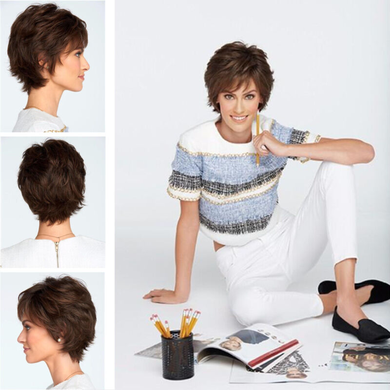 Dark Brown Daily Wig Costume Cosplay Party Wig Natural Short