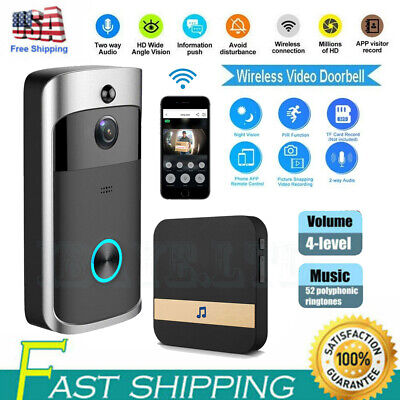 Wireless Smart Video Doorbell WiFi 1080P Camera Night Vision & Plug in Receiver