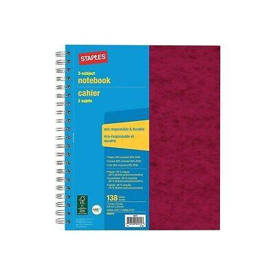 Staples 3 Subject Notebook 9 X 11 400879