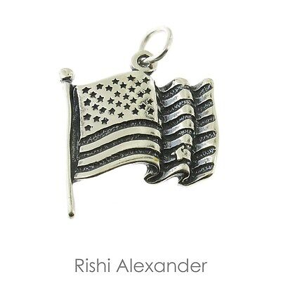 925 Sterling Silver American Flag Charm Made in America 925 Sterling Silver American Flag