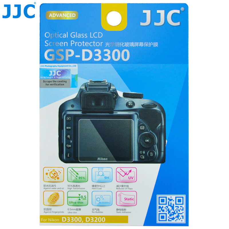 JJC TEMPERED Glass Ultra-thin LCD Protector for Nikon D3300 D3200 D3400 D3500