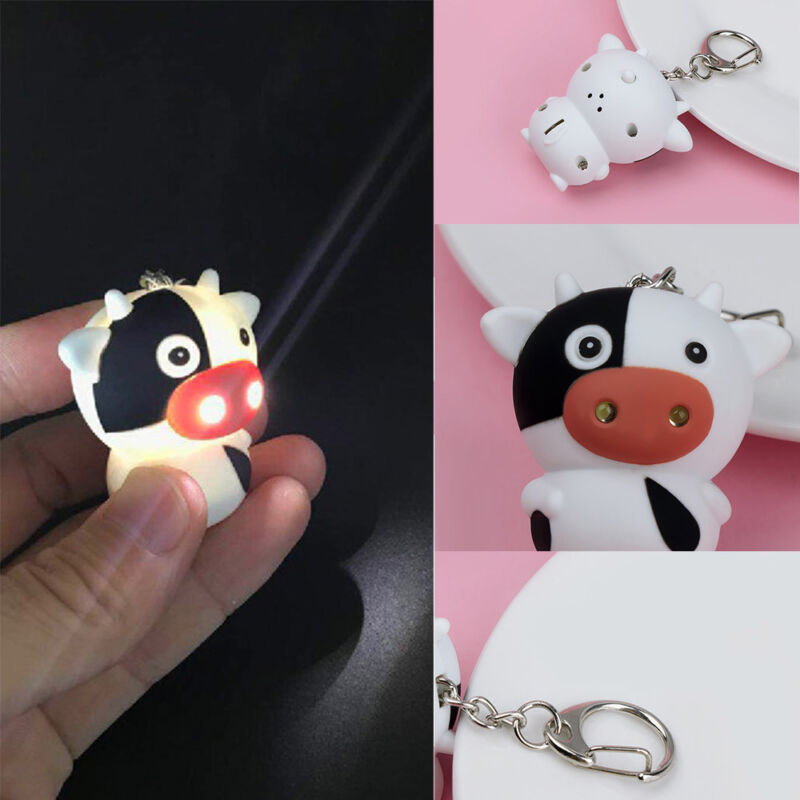 Details About Mini Cartoon Cow Shape Led Light Vocal Luminous Key Chain Gift Bag Accessories