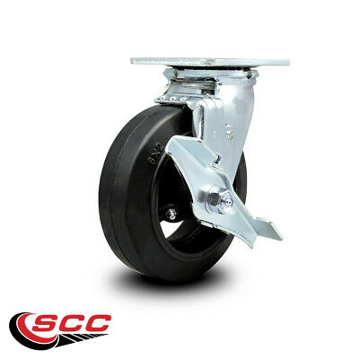 Scc 6 Rubber On Cast Iron Wheel Swivel Caster Wbrake - 450 Lbscaster