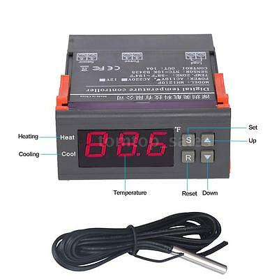 10a 110v Digital Led Fahrenheit Temperature Controller Thermostat Temp Sensor Us