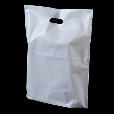 300 xWhite Plastic Carrier Bags Patch Handle Gift Shopping Strong Plastic15x18x3