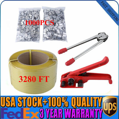 Heavy Duty Pallet Strapping Banding Kit Tensioner Tool 1000 Sealers Coil Usa