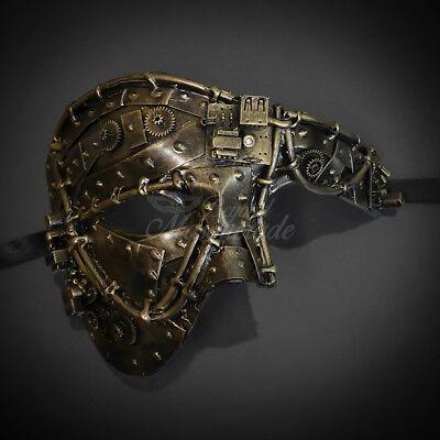 Steampunk Phantom Half Face Men Metallic Party Masquerade Mask - Gold M39033