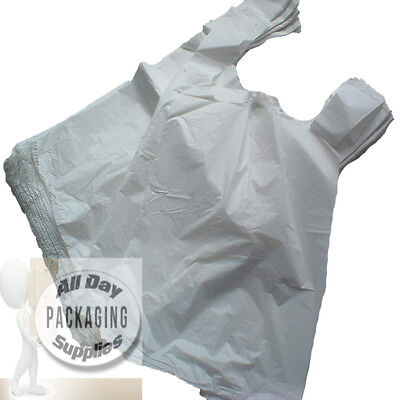 1500 WHITE POLYTHENE VEST CARRIER SHOPPING BAGS SIZE 11 X 17 X 21