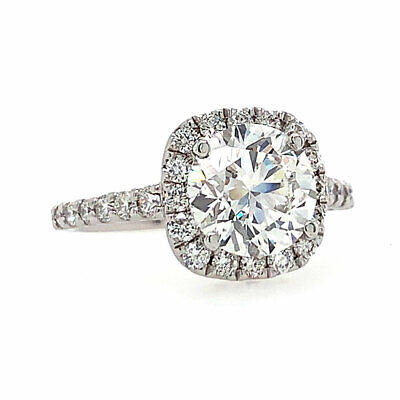 2.76 cttw F/SI-1 GIA Certified Round Diamond Halo Engagement Ring 14K White Gold 1