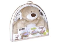 Soft bear play mat with hanging toys