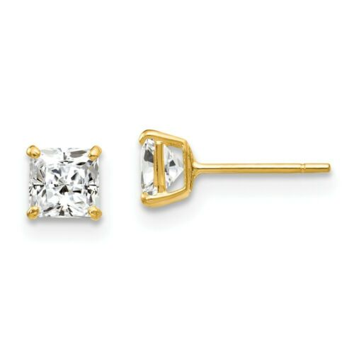 14K Yellow Gold Madi K Childrens 4 MM Square Citrine Post Stud Earrings