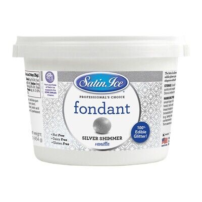 Satin Ice Silver Shimmer Rolled Fondant Icing 1 Pound   Cake Decorating ()