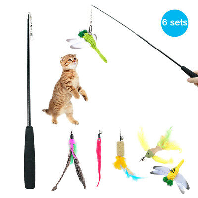 5pcs Feather Cat Teaser Wire Chaser Toy Wand Beads Kitty Play Interactive Teaser Kitty Play Wands